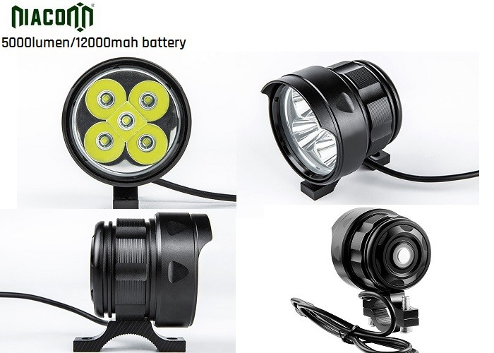 12000mah Rechargeable Cycle Led Light , 50W Bike Front Led Light